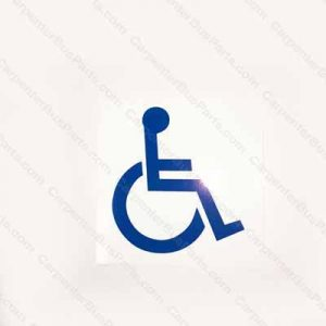 WHEEL CHAIR DECAL BLUE ON WHITE BACKGROUND