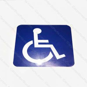 WHEEL CHAIR DECAL WHITE ON BLUE BACKGROUND